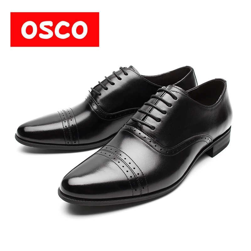 OSCO moda trendleri brokar oyma iş elbise hakiki deri erkek ayakkabısı düğün ayakkabı rahat ofis iş ayakkabısı erkek Oxfords