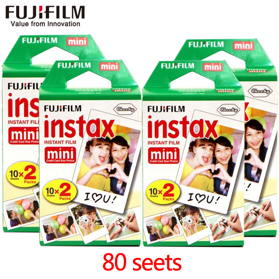Fujifilm fuji instax mini 8 film 80 sheets white Edge film 20pcs/box for Fujifilm Instant Camera mini 8 7s 25 50s 90 Photo Paper new 5 colors fujifilm instax mini 9 instant camera 100 photos fuji instant mini 8 film