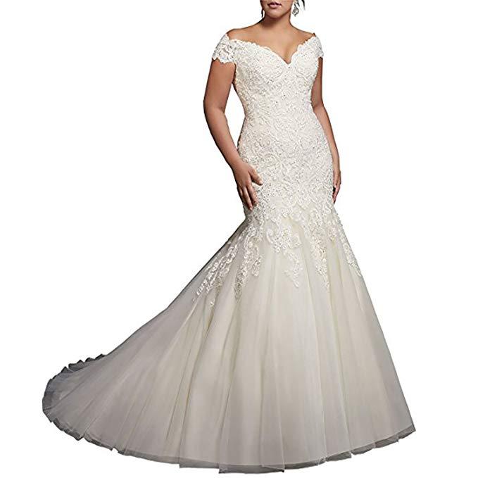 2019 V Neck Off Shoulder Mermaid Wedding Dresses For Bride Lace Applique Bridal Gowns Vestidos De