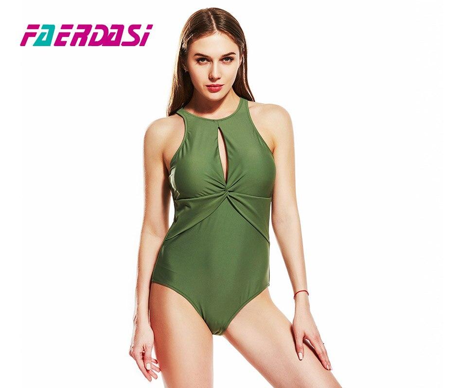 f894bd75013 US $32.99  Faerdasi Women 2019 Solid Bathing Suit Plus Size Beachwear High  Cut Swimsuit Green Swimwear Padded Swimming Suit Maillot De Bain-in Body ...