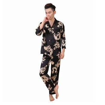 Мужская повседневная одежда для сна из искусственного шелка, 2 предмета, рубашка с длинными рукавами и штаны, пижама в китайском стиле с прин