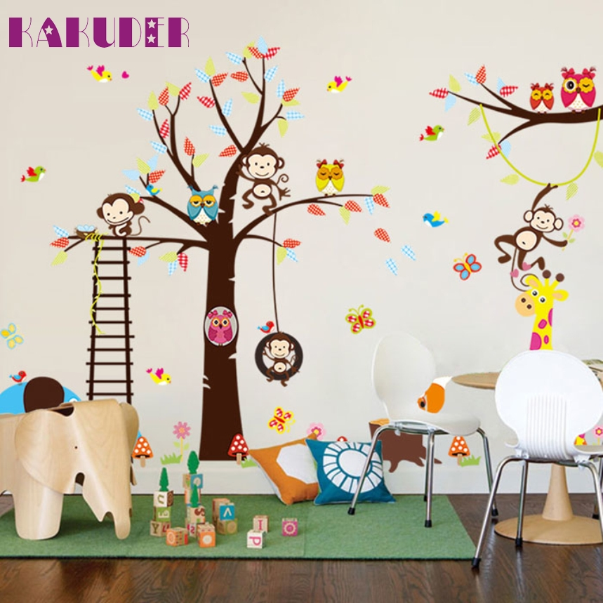 KAKUDER Top Grand Paradise Trees Childrens Room Wall Stickers Nursery Sticker Zoo Home Decoration wall stickers kids Smile