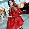2015 New Winter Fur Clothing Fashion Long Slim Leather Windbreaker Leather Jacket Women Jaqueta De Couro Feminina