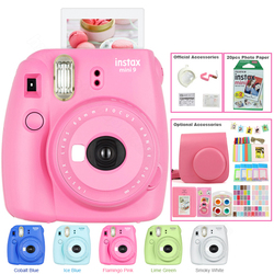 Nova Fujifilm Instax Mini Instantâneo 9 5 Cor Photo Film Camera Kit com Saco de Transporte, filme Instax Mini 20, Álbum, Adesivos & Lens