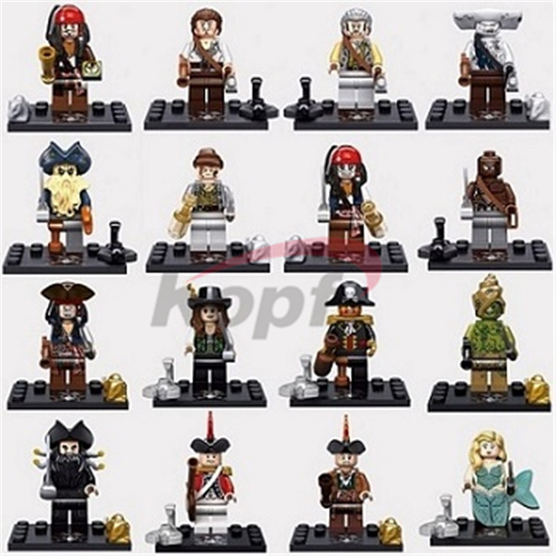Super Heroes Captain Pirates of The Caribbean Jack Sparrow Elizabeth Mermaid David Jones Maccus Building Bocks Kids Toys KSZ 515 kazi 608pcs pirates armada flagship building blocks brinquedos caribbean warship sets the black pearl compatible with bricks