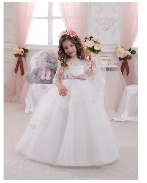 Girls Wedding Formal Dresses 2018 Longsleeve Lace Gauze Flowers Girls Princess Dress Kids Backless Long Party Prom Dresses White
