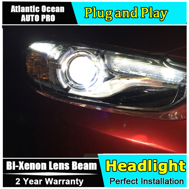 Car Styling New For Mazda 6 led headlights 2014-2015 Led Mazda6 head lamp Angel eye led drl HID KIT Bi-Xenon Lens low beam car styling led head lamp for ford kuga led headlights 2014 taiwan escape angel eye drl h7 hid bi xenon lens low beam