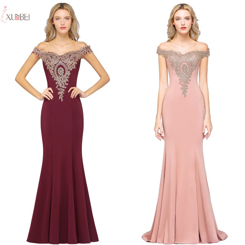New Arrival Elegant Pink Burgundy Satin Long   Bridesmaid     Dresses   2019 Off The Shoulder Lace Applique Wedding Party   Dress