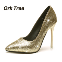 Ork Tree 2017 New Spring Autumn Women Pumps Sexy Black Gold Silver High Heels Shoes Fashion