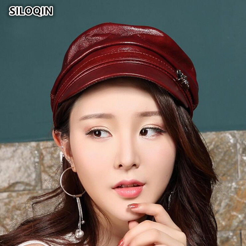SILOQIN Genuine Leather Hat Autumn Winter Trend Women's Military Hats Flat Caps Women Cowhide Winter Hat  Solid Color Tongue Cap