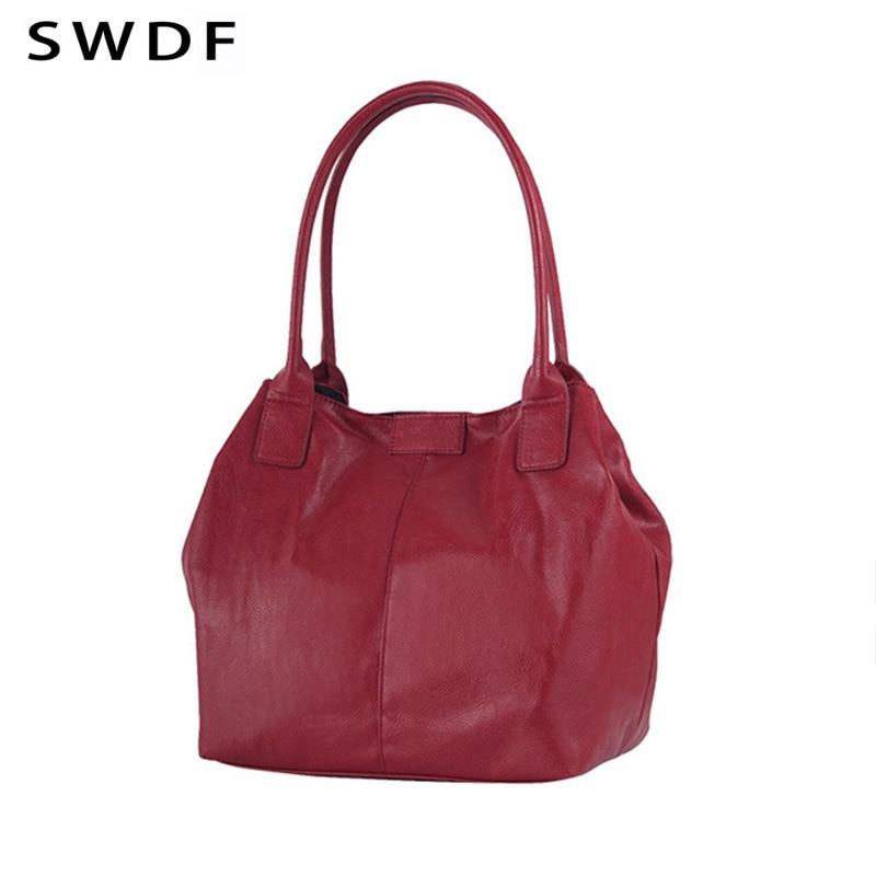 SWDF bag for women 2017 large-capacity ladies' handbag leather surface high quality fashion bucket bag single shoulder bag