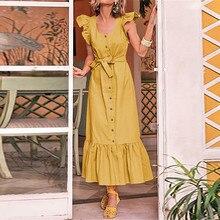 Летнее макси платье женское сексуальное с коротким рукавом гофрированное длинное платье повседневные ремни однотонные плиссированные пляжные платья Vestido Robe femme