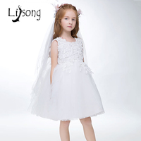 White Flower Girl Dresses Ball Gowns First Communion Dresses For Girls Birthday Celebrity Party Dress Gowns