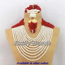 Charming Red African Wedding Coral Beads Jewelry Sets Mix White Pearl Beads African Costume Jewelry Sets Free Shipping CJ246