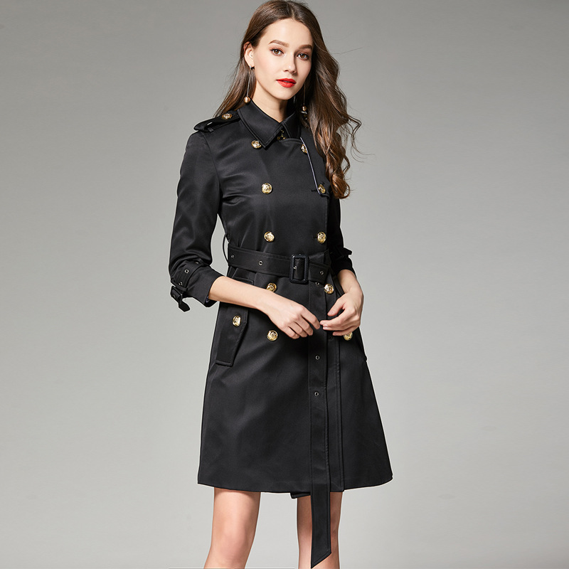 Double Breasted Classic Black Women's Trench Coats Vintage Long Trench Coat Classic Windbreaker Female Outwear Mujer 2018