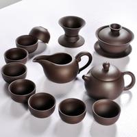 Hot Sale Ceramic Purple Clay Tea Set Kung Fu Pot Infuser Xishi Gaiwan Teapot Serving Cup