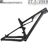 Winowsports new arrive Enduro/XC 27.5er full suspension carbon frame mtb 148*12mm boost 29er thru axle 120mm travel BB92 BSA SGS