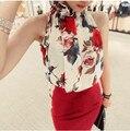 2016 mulheres moda chiffon tops verão novo Coreano Senhoras Chiffon Strapless Halter cor 9233-A elegante sem mangas top feminino 25