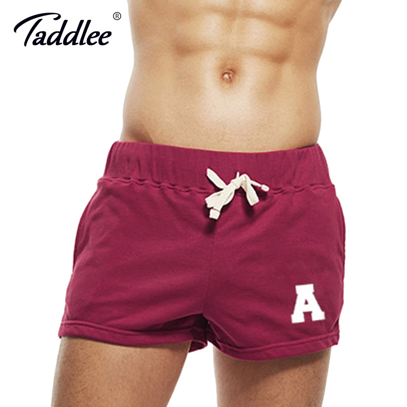 Taddlee Brand Sexy Mens Sports Running Short Shorts Cotton Red Pockets Gym Training Big Soft Low Rise Boxer Trunks Bottom ...