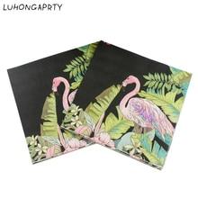 20pcs New Paper Napkin Flamingo Rainforst Flower healthy napkin paper tissue kids birthday party Coffee shop glass decoration