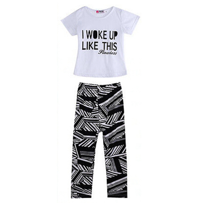 2018 Baby Girls New Fashion Casual Letter Children Sets Summer Zebra Print T-Shirt+Pants Children Sets Clothes 2-9 Years Hot