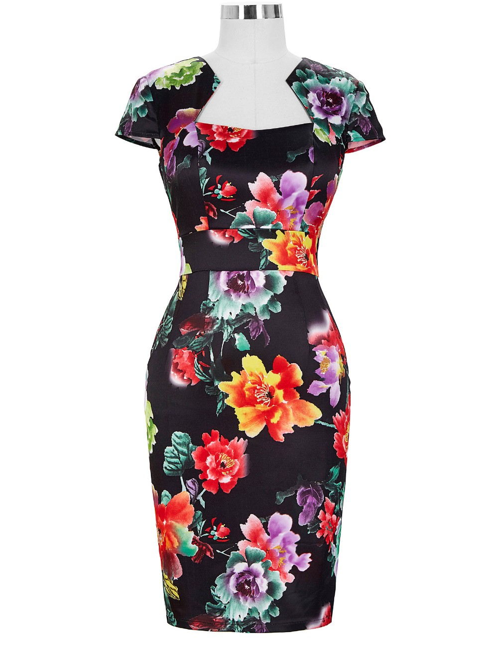 Women Plus Size Pencil Dresses Rockabilly Clothing 2018 Floral Summer Casual Party Office Dress Sexy 50s Vintage Bodycon Dress 20