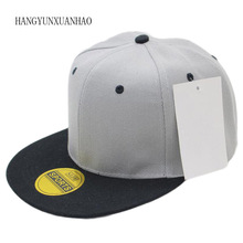 цена на Full Close Hip Hop Cap Blank Whole Closure Women Men's leisure Flat Brim Bill Hip Hop Baseball Cap Fitted Snapback Hat