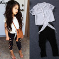 Girls clothes set summer white lace shirt ripped leggings baby girl clothing set fashion brand outfits kids clothes suit holes