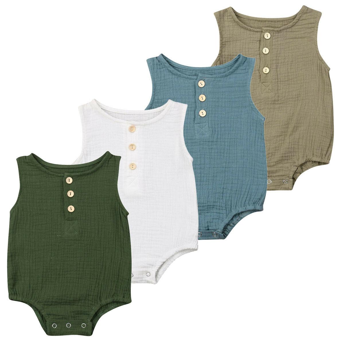 Newborn Infant Baby Girls Boy Sleeveless Solid Color Cotton Linen   Romper   Jumpsuit Clothes