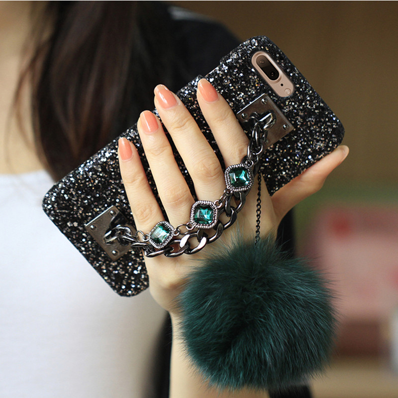 For iPhone 6S Case Glitter Luxury Bling Diamond Gem Bracelet Chain Tassel Fox Fur Ball Cover For iPhone 5S 6 6S 7 8 Plus X Case