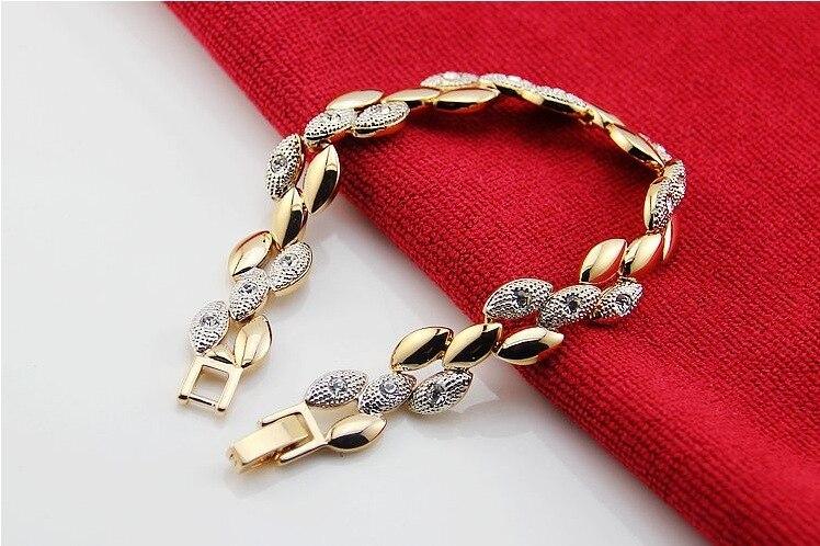 2018 модный цвет инкрустация Кристалл колосья пшеницы форма блеск сплав покрытие браслет-цепочка мотаться браслет