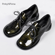 Top quality women oxford round toe marble print cowhide shining patent leather low heels preppy ladies casual shoes plus size цена