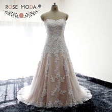 Rose Moda Strapless White over Blush Fitted Wedding Dress