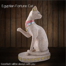 1PC Classical Sandstone Egyptian Cat Figure Resin Craft Manual Carving Fortune Cat Figurine Home Decoration(China)