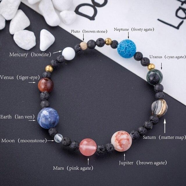 Оригинальные браслеты на солнечной системе с 9 планетами для женщин, звезды Вселенной ручной работы, натуральные камни, эластичный браслет на удачу