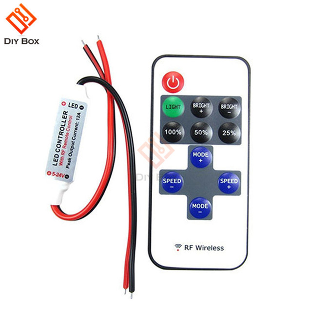 1set 12v Rf Mini Wireless Controller Switch Led Dimmer With Remote In Line Light