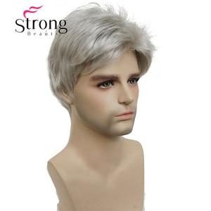 Image 1 - StrongBeauty קצר כסף אפור פאה Mens קצר סינטטי שיער פאות צבע אפשרויות