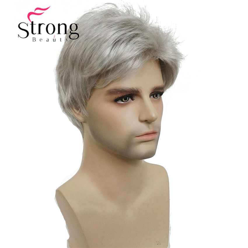 Strongbeauty Peruca Curta Cinza Prateada Cabelo Sintético Masculino Escolhas Coloridas
