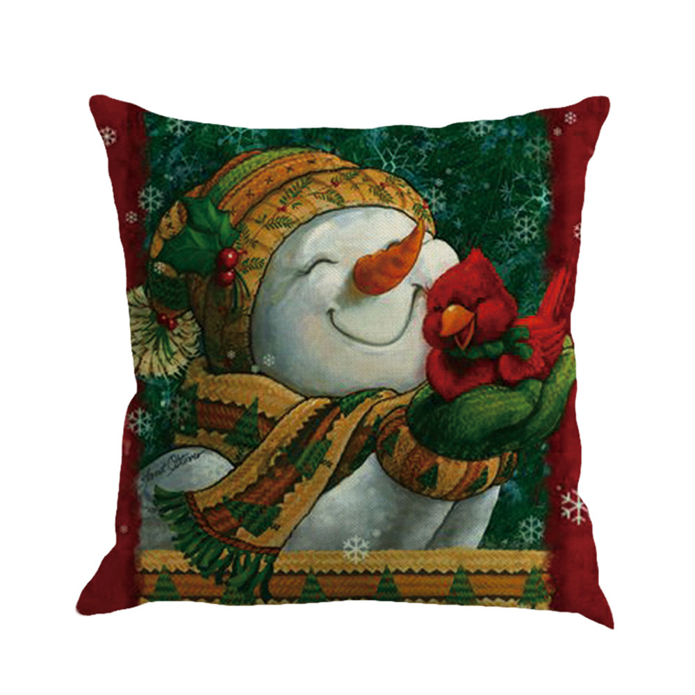 Christmas Xmas Linen Cushion Cover Throw Pillow Case Home: 2018 Beautiful Christmas Linen Square Throw Flax Pillow