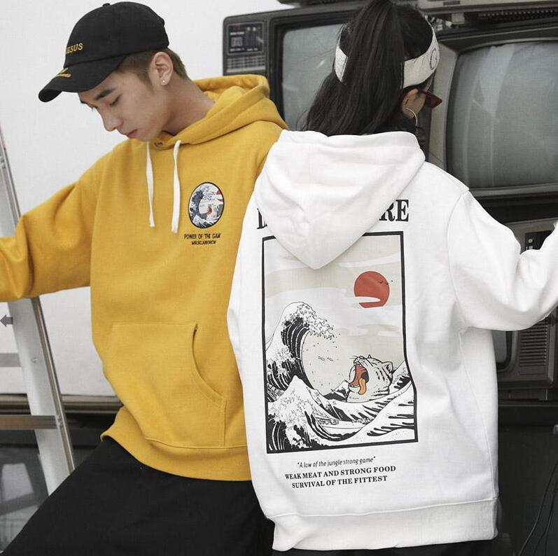 2018 Japanese Embroidery Funny Cat Wave Printed Hoodies Sweatshirts