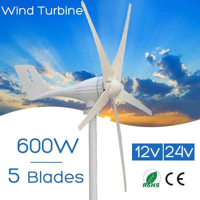 600 w 12 v 24 Volts 5 Nylon Fiber Lames Éoliennes Horizontales Puissance Du Générateur Moulin À Vent D'énergie Chargeur Kit Maison
