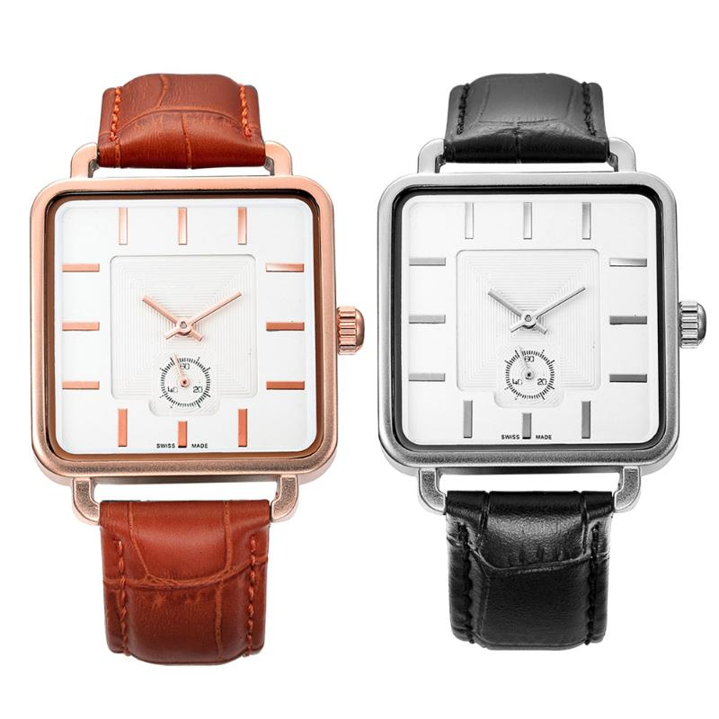 Brand Leather Strap Mens Watches Hours Casual Square Clock Japan Movement Quartz Men Watch Luxury Business Wrist Watch