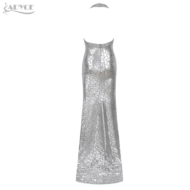 Adyce 2019 New Summer Sequined Celebrity Evening Party Dress Women Vestidos Sexy Halter Silver Backless Sleeveless Club Dresses 2