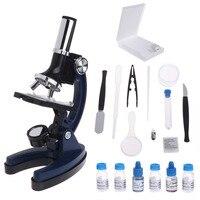 내구성 금속 팔 어린이 아이 생물 현미경 세트 학생 교육 장난감 100x 600x 1200x Dropshipping|망원경|도구 -