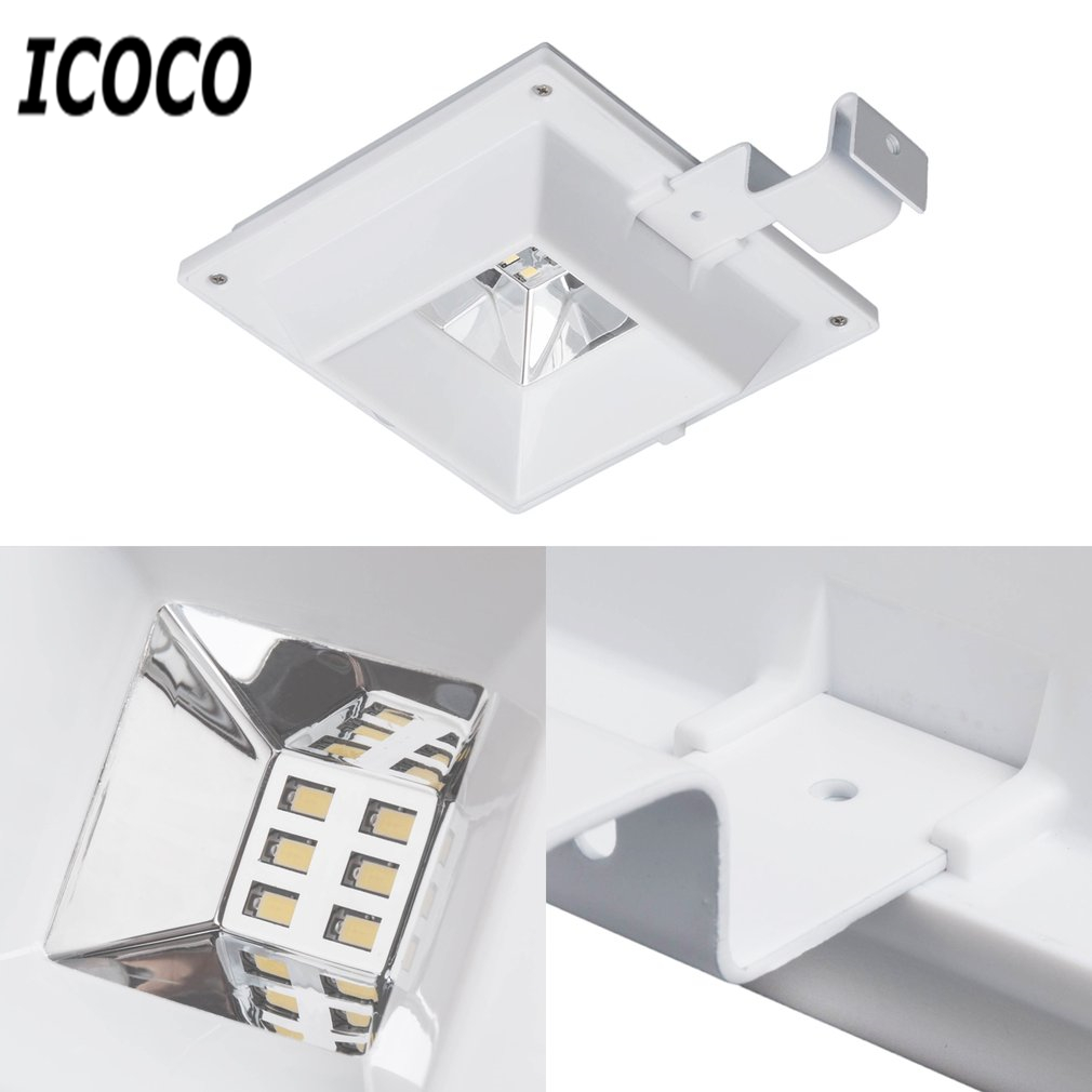 Lamparas Led Para Patios Icoco 6 Led Luz Solar Pir Sensor De Movimiento Lámpara De Pared Impermeable Seguridad Techo Canalón Luz Para Patio De Jardín Al Aire Libre Para