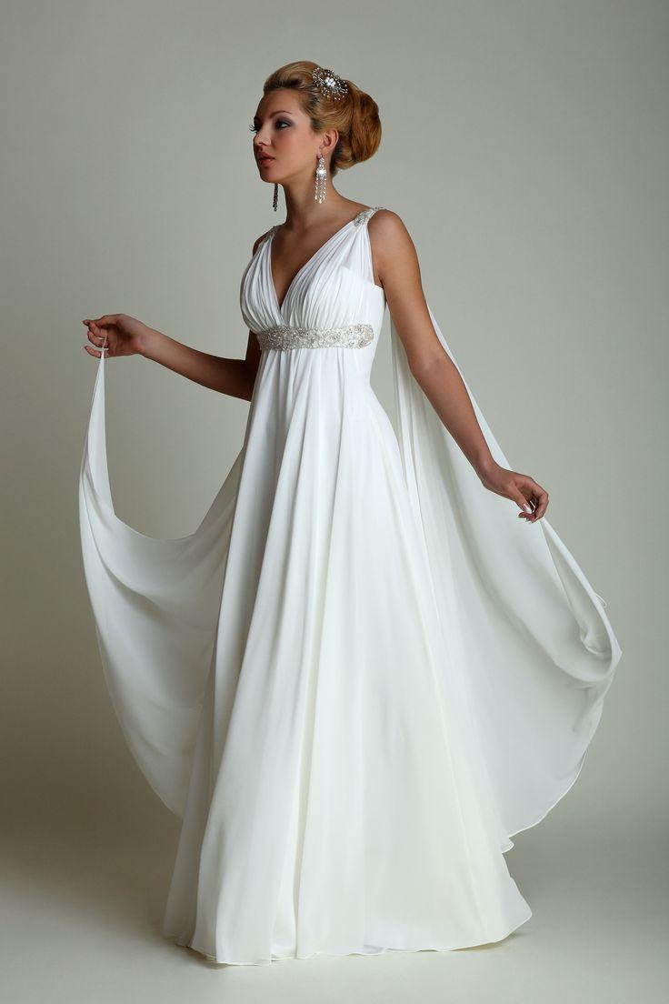 Greek Style Wedding Dresses With Watteau Train 2019 Sexy V-neck Long Chiffon Grecian Beach Maternity Wedding Gowns Grecian Brida