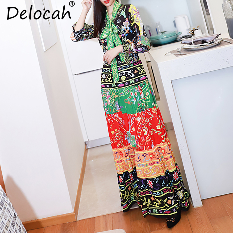 Delocah Autumn Women Dress Runway Fashion Designer Long Sleeve Simple Bow Collar Vintage Printed Slim A
