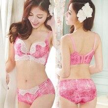 2470c31f50 fashion sexy push up bra set ladies 3 4 cup bras lingerie set women  underwear briefs lenceria femenina pink 36C 38A