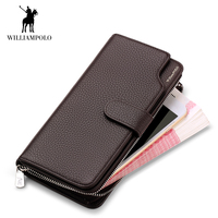 WilliamPOLO Brand Men Wallet Famous Long Clutch bag Genuine Leather Zipper Male Purses Phone Coin Credit Card Holder Walet