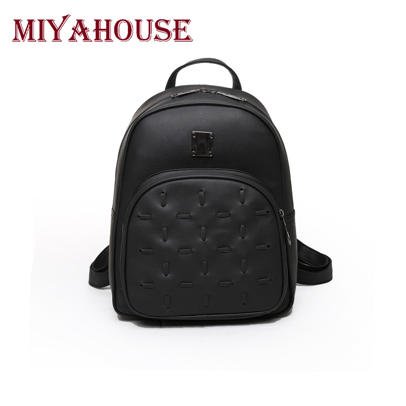 Miyahouse Vintage Women Backpacks Fashion Girls School Bags For Teens Daily Use Ladies Quality Backpack PU Leather Travel Bag